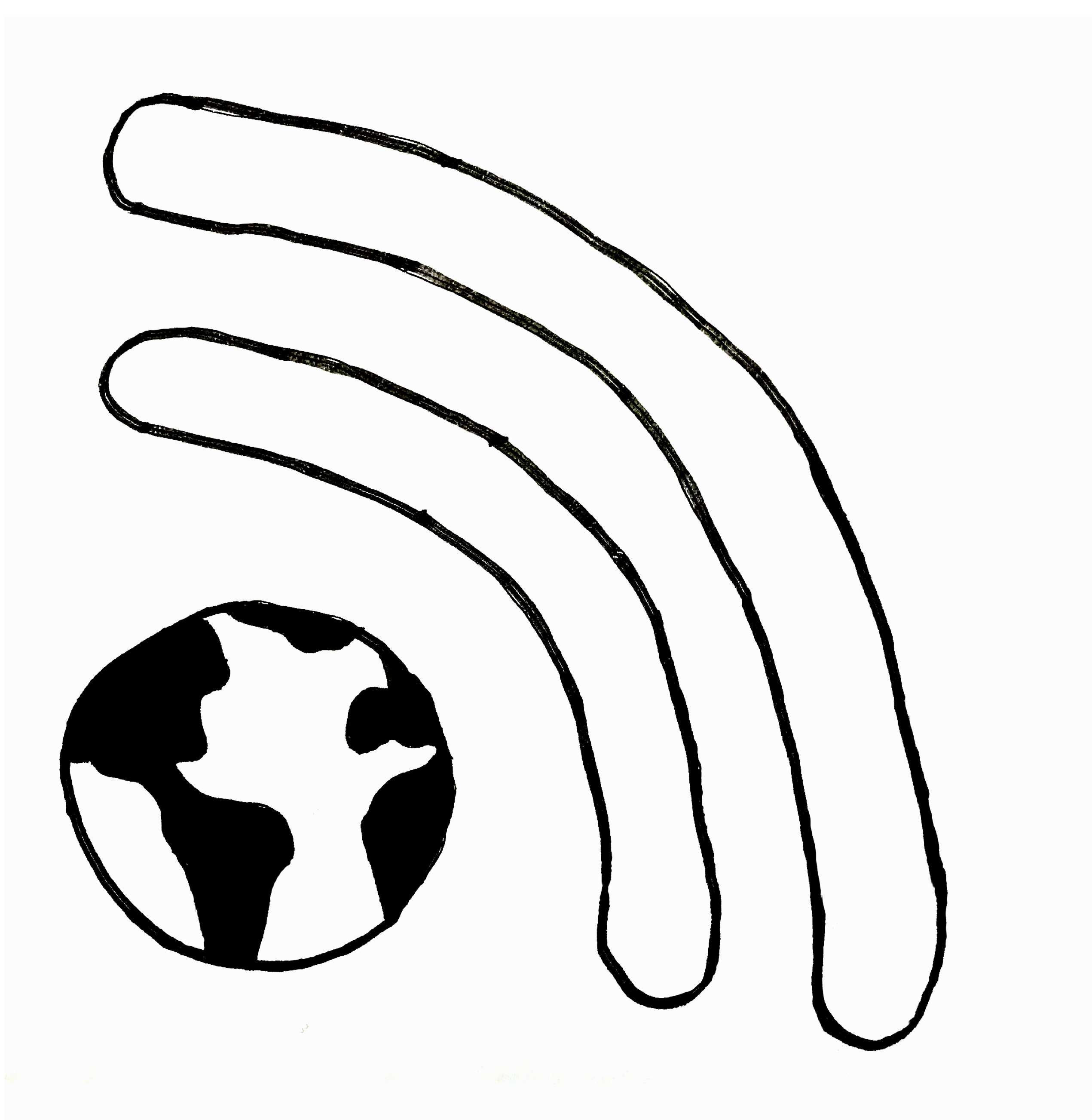 An illustration of Earth with WiFi signals shooting out of it.