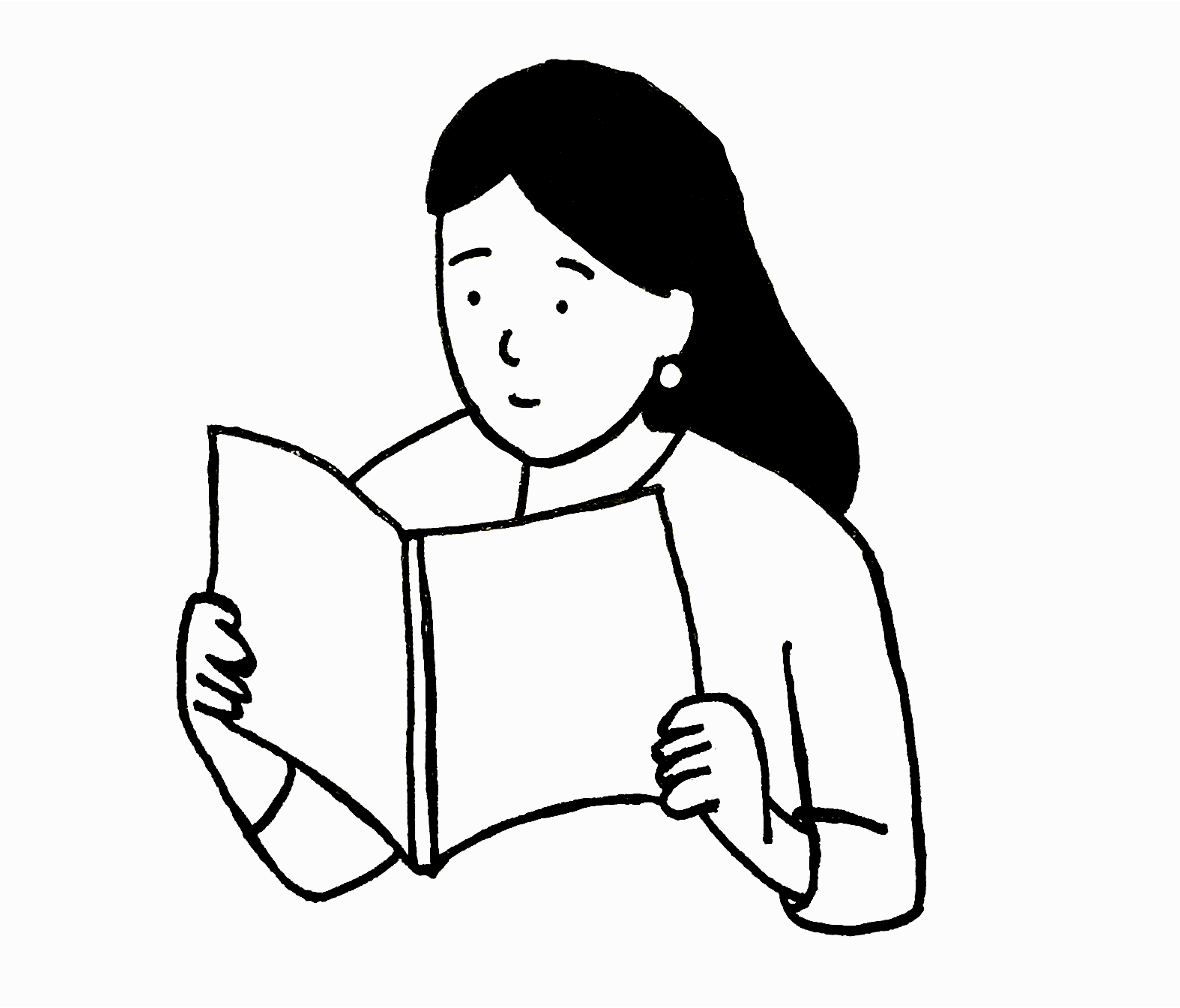 An illustration of a woman reading a book.