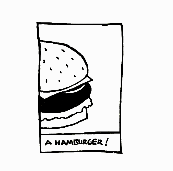 An illustration of a hamburger with the caption 'hamburger'.