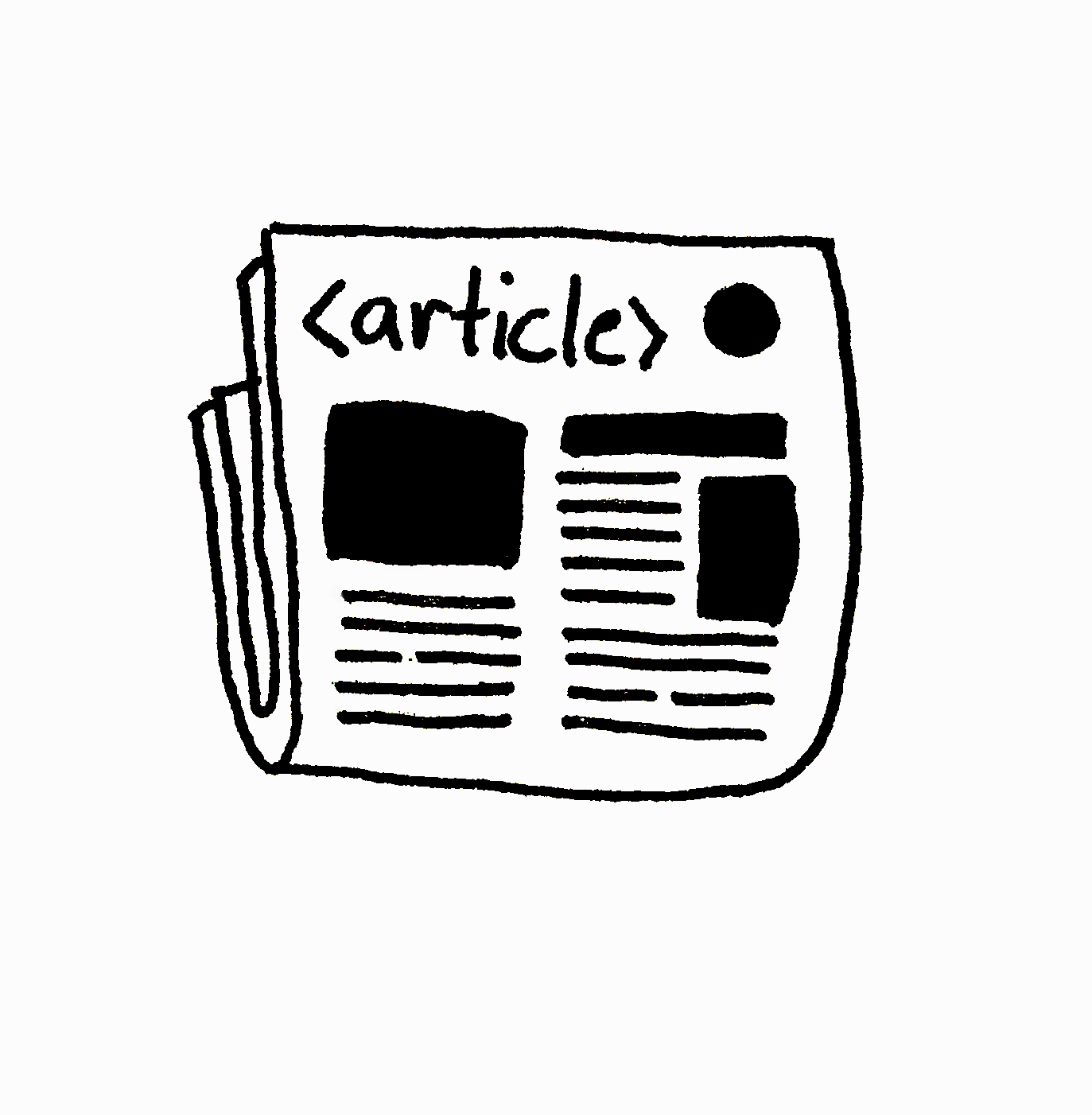 An illustration of a newspaper with the text '<article>' written as the headline