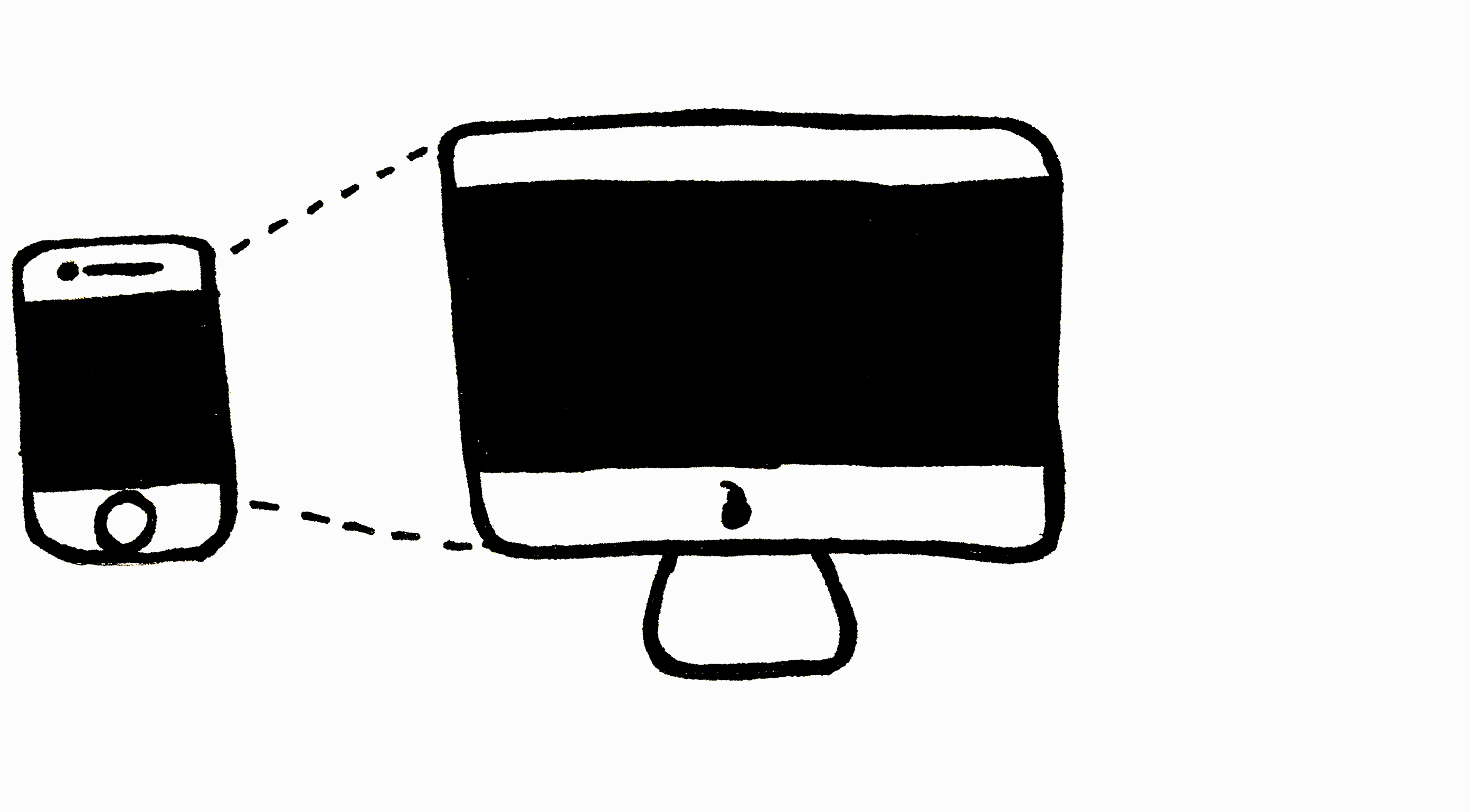 An illustration of a smartphone next to a desktop computer.