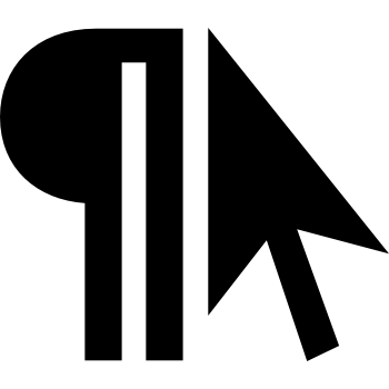 A logomark containing a pilcrow and a computer cursor.